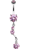 Sparkling Crystal Drop Belly Button Ring - 14 GA (1.6mm) - Pink - Sold Individually