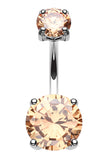 "Brilliant Glass-Gem Prong Sparkle Belly Button Ring - 14 GA (1.6mm) - Ball Size: 1/4x3/8"" (6x10mm) - T. Yellow - Sold Individually"