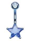 Colorline Star Prong Sparkle Belly Button Ring - 14 GA (1.6mm) - Aqua - Sold Individually