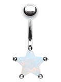 Colorline Star Prong Sparkle Belly Button Ring - 14 GA (1.6mm) - Rhodium Plated/Opalescentescent - Sold Individually