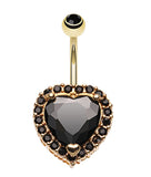 Extravagant Heart Glass-Gem Belly Button Ring - 14 GA (1.6mm) - Black - Sold Individually