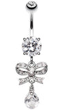 Romantic Glass-Gem Bow-Tie Belly Button Ring - 14 GA (1.6mm) - Clear - Sold Individually