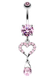 My Darling Heart Belly Button Ring - 14 GA (1.6mm) - Pink - Sold Individually