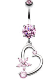 Elegant Star and Heart Belly Button Ring - 14 GA (1.6mm) - Pink - Sold Individually