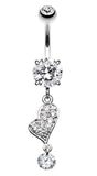 Glass-Gemed Heart Belly Button Ring - 14 GA (1.6mm) - Clear - Sold Individually