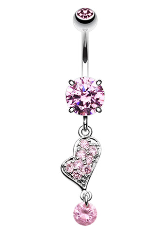 Glass-Gemed Heart Belly Button Ring - 14 GA (1.6mm) - Pink - Sold Individually