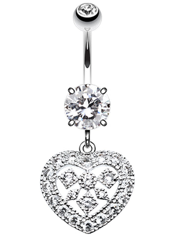 Sparkling Heart Shapes Belly Button Ring - 14 GA (1.6mm) - Clear - Sold Individually