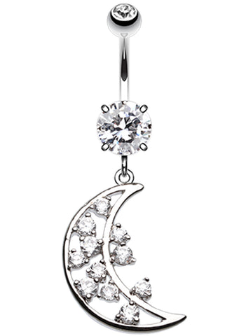 Twinkling Moon Belly Button Ring - 14 GA (1.6mm) - Clear - Sold Individually
