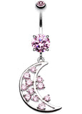 Twinkling Moon Belly Button Ring - 14 GA (1.6mm) - Pink - Sold Individually