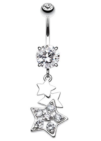 Star Dazzle Belly Button Ring - 14 GA (1.6mm) - Clear - Sold Individually
