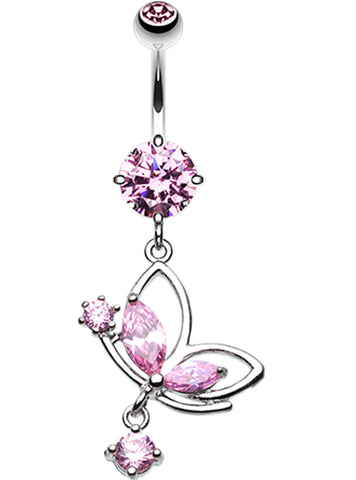 Darling Butterfly Belly Button Ring - 14 GA (1.6mm) - Pink - Sold Individually