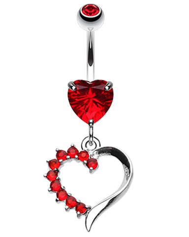 Opulant Glass-Gem Heart Belly Button Ring - 14 GA (1.6mm) - Red - Sold Individually