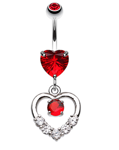 Lusterous Double Heart Belly Button Ring - 14 GA (1.6mm) - Red - Sold Individually