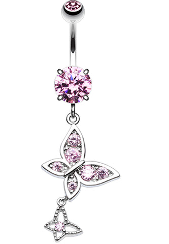 Butterfly Dance Belly Button Ring - 14 GA (1.6mm) - Pink - Sold Individually