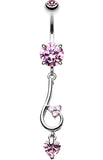 Sparkle Curl Belly Button Ring - 14 GA (1.6mm) - Pink - Sold Individually