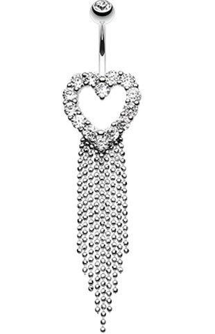 Heart Sparkle Showers Belly Button Ring - 14 GA (1.6mm) - Clear - Sold Individually
