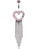Heart Sparkle Showers Belly Button Ring - 14 GA (1.6mm) - Pink - Sold Individually