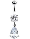 Opulant Droplet Belly Button Ring - 14 GA (1.6mm) - Clear - Sold Individually
