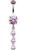 Sweet Cascading Glass-Gems Belly Button Ring - 14 GA (1.6mm) - Pink - Sold Individually