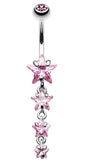 Star Spangled Belly Button Ring - 14 GA (1.6mm) - Pink - Sold Individually