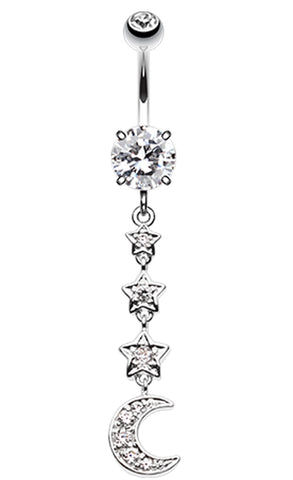 Stars to the Moon Belly Button Ring - 14 GA (1.6mm) - Clear - Sold Individually