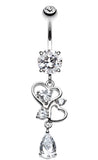 Hearts Delight Belly Button Ring - 14 GA (1.6mm) - Clear - Sold Individually