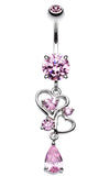 Hearts Delight Belly Button Ring - 14 GA (1.6mm) - Pink - Sold Individually