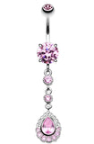 Angelic Glass-Gem Cascading Belly Button Ring - 14 GA (1.6mm) - Pink - Sold Individually