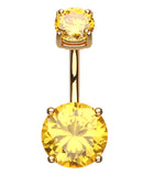 "Colorline Glass-Gem Prong Sparkle Belly Button Ring - 14 GA (1.6mm) - Ball Size: 5/32x9/32"" (4x7mm) - Yellow - Sold Individually"
