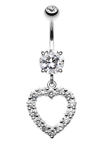 Heart Affection Belly Button Ring - 14 GA (1.6mm) - Clear - Sold Individually