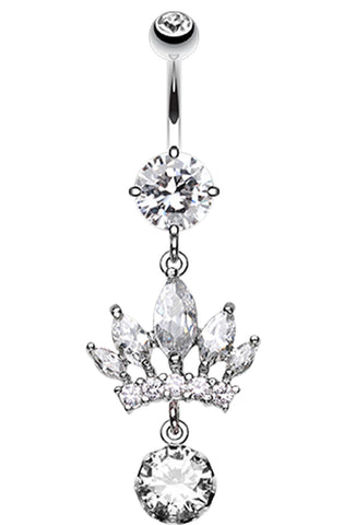 Crown Glass-Gem Dazzle Belly Button Ring - 14 GA (1.6mm) - Clear - Sold Individually
