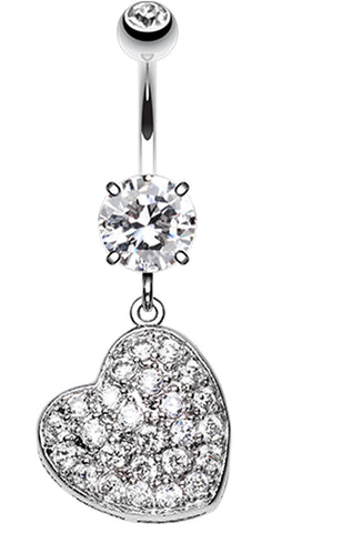 Textured Heart Sparkle Belly Button Ring - 14 GA (1.6mm) - Clear - Sold Individually