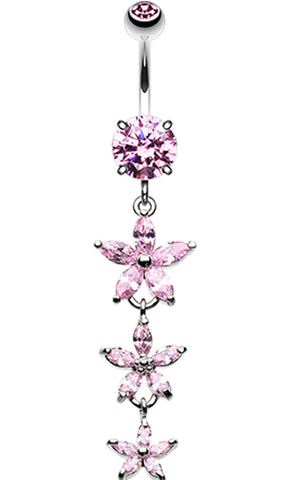 Shimmering Flower Cascade Belly Button Ring - 14 GA (1.6mm) - Pink - Sold Individually