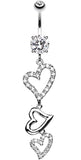 Curved Hearts Sparkle Belly Button Ring - 14 GA (1.6mm) - Clear - Sold Individually