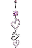 Curved Hearts Sparkle Belly Button Ring - 14 GA (1.6mm) - Pink - Sold Individually