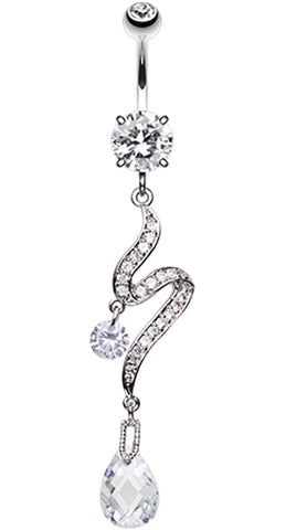 Elegant Swirl Sparkle Belly Button Ring - 14 GA (1.6mm) - Clear - Sold Individually