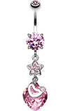Star Heart Glass-Gem Sparkle Belly Button Ring - 14 GA (1.6mm) - Pink - Sold Individually