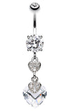 Shimmering Hearts Belly Button Ring - 14 GA (1.6mm) - Clear - Sold Individually