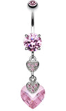 Shimmering Hearts Belly Button Ring - 14 GA (1.6mm) - Pink - Sold Individually