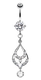 Layered Teardrop Sparkle Belly Button Ring - 14 GA (1.6mm) - Clear - Sold Individually
