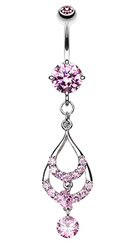 Layered Teardrop Sparkle Belly Button Ring - 14 GA (1.6mm) - Pink - Sold Individually