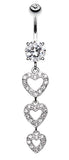 Sparkling Heart Cascade Belly Button Ring - 14 GA (1.6mm) - Clear - Sold Individually