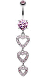 Sparkling Heart Cascade Belly Button Ring - 14 GA (1.6mm) - Pink - Sold Individually