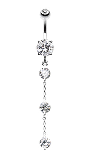 Triple Crystal Droplets Belly Button Ring - 14 GA (1.6mm) - Clear - Sold Individually