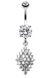 Vibrant Sparkle Diamond Shaped Crystals Belly Button Ring - 14 GA (1.6mm) - Clear - Sold Individually
