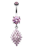 Vibrant Sparkle Diamond Shaped Crystals Belly Button Ring - 14 GA (1.6mm) - Pink - Sold Individually