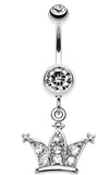 Shimmering Regal Crown Belly Button Ring - 14 GA (1.6mm) - Clear - Sold Individually
