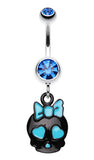 Charming Skull Charm Belly Button Ring - 14 GA (1.6mm) - Blue - Sold Individually