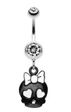 Charming Skull Charm Belly Button Ring - 14 GA (1.6mm) - Clear - Sold Individually