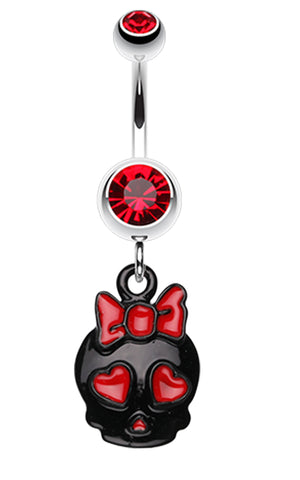 Charming Skull Charm Belly Button Ring - 14 GA (1.6mm) - Red - Sold Individually